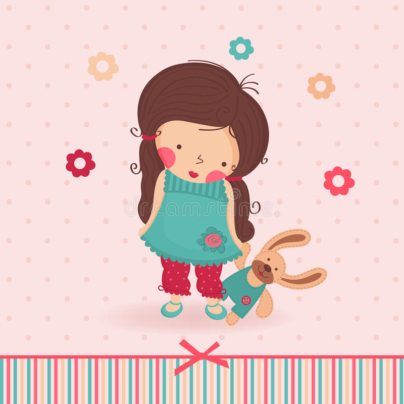 Download Girl with a toy stock vector. Illustration of emotional - 28607913