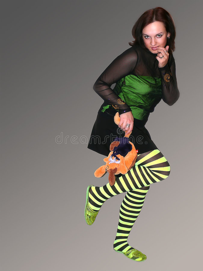 Girl with toy royalty free stock photography