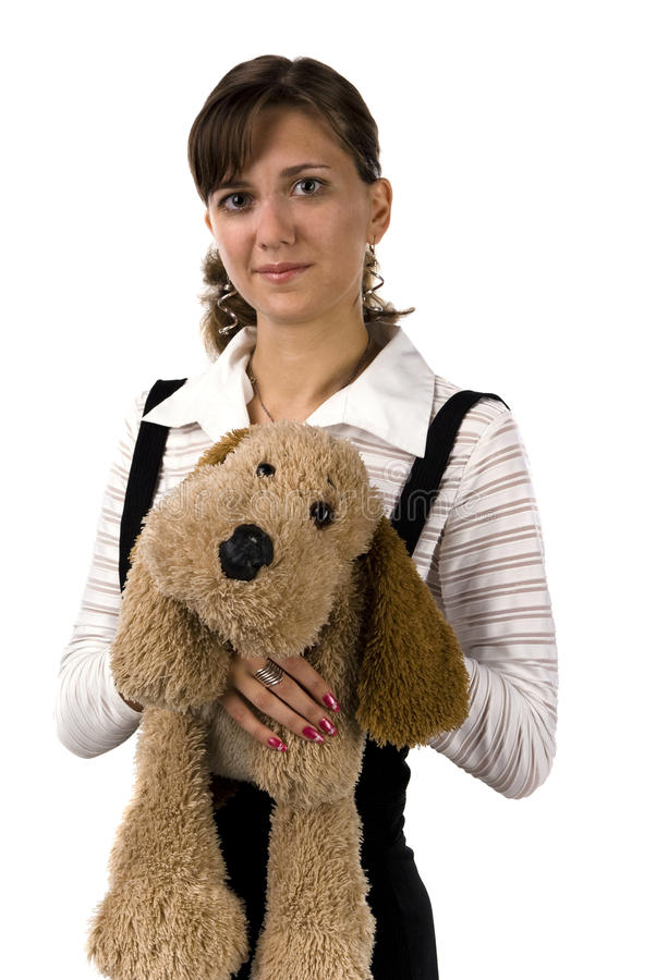 The girl with a toy dog stock images