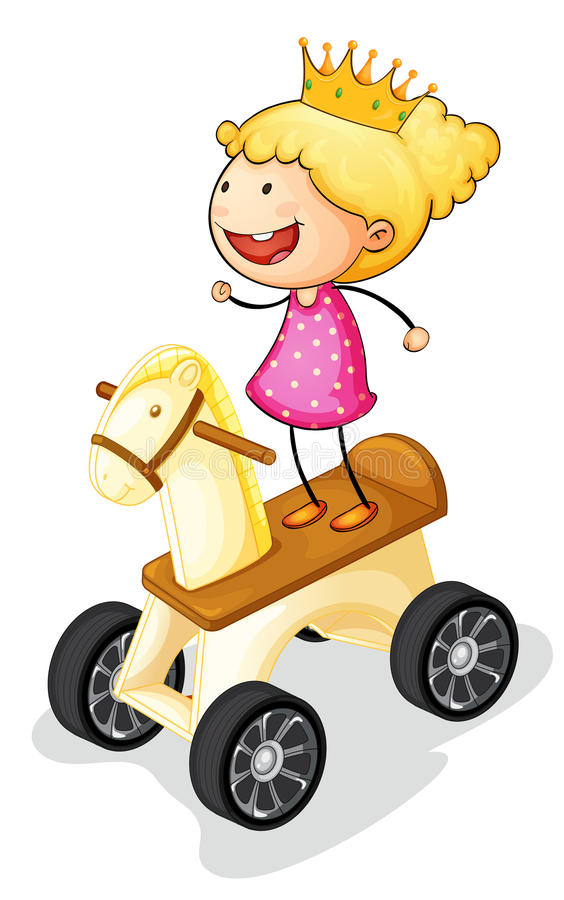 Girl on toy horse. Illustration of a girl on toy horse royalty free illustration