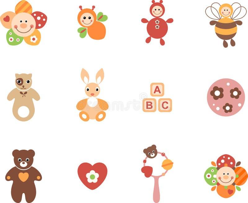 Girl Toys Set stock illustration