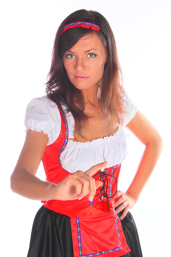 Download The Girl In A Traditional Bavarian Dress Stock Photo - Image of pleasure, drink: 21143582