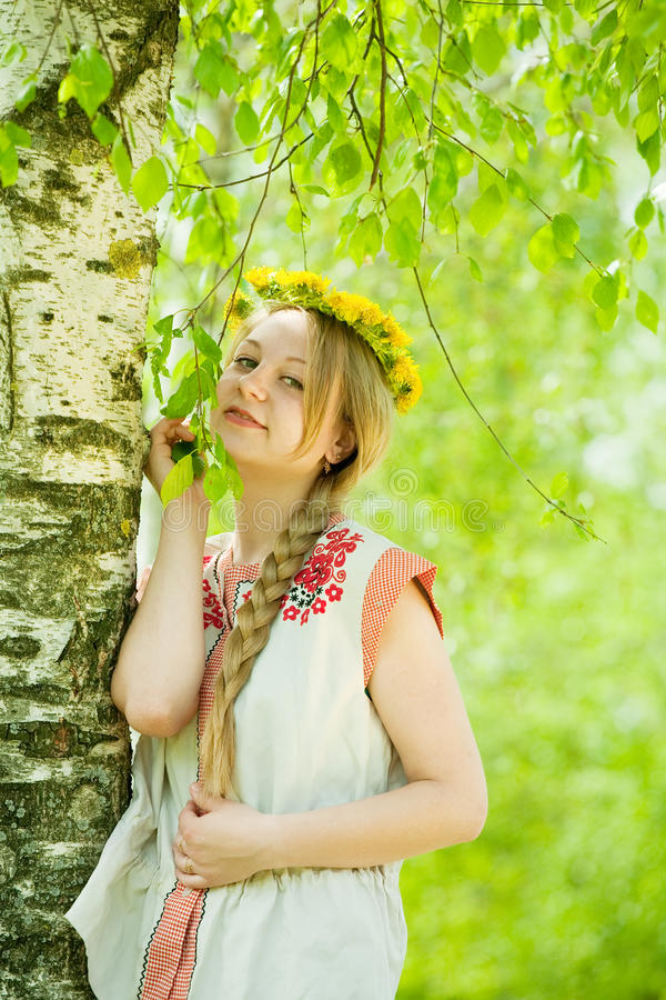 Girl in traditional clothes royalty free stock photography