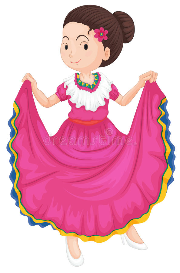Download Girl in traditional dress stock illustration. Illustration of pink - 25770777