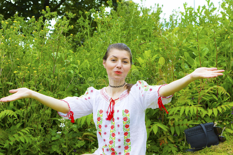 Girl in traditional Romanian blouse royalty free stock image