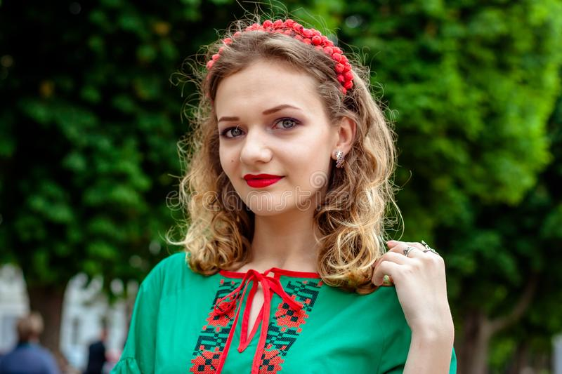 A girl in traditional Ukrainian clothes at the Parade of Vyshy stock photos