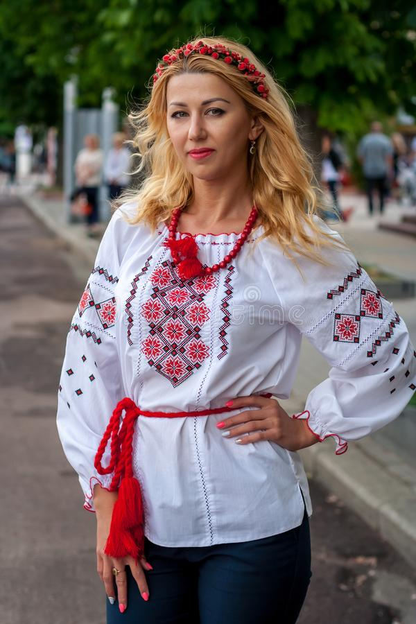 A girl in traditional Ukrainian clothes at the Parade of Vyshy stock images
