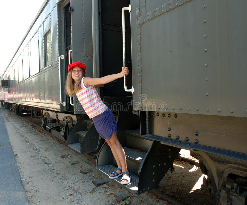 Girl and train 1 royalty free stock photo