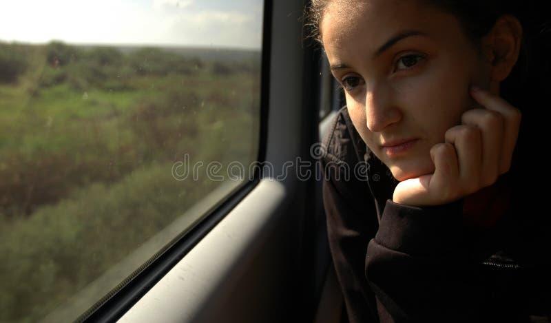 Girl on train #4 stock photography