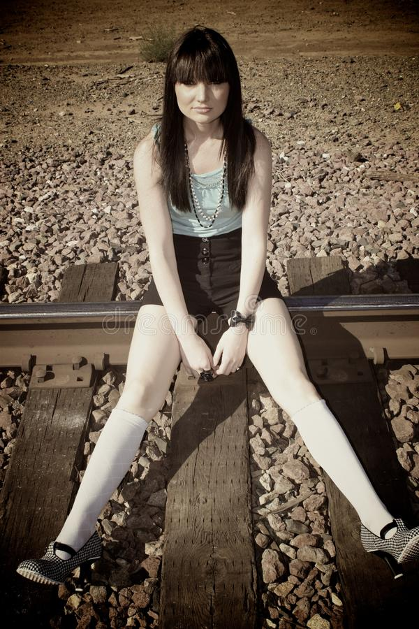 Download Girl On The Train Tracks Royalty Free Stock Images - Image: 10490779