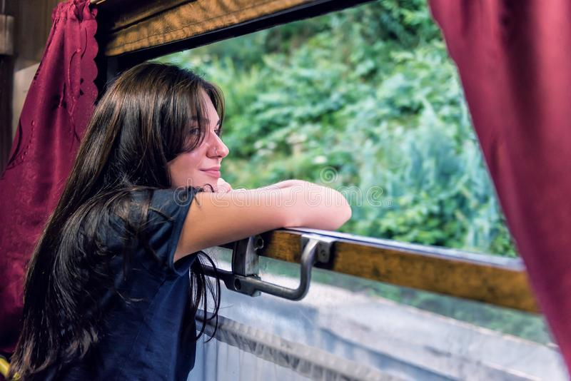 Girl in the train royalty free stock photo