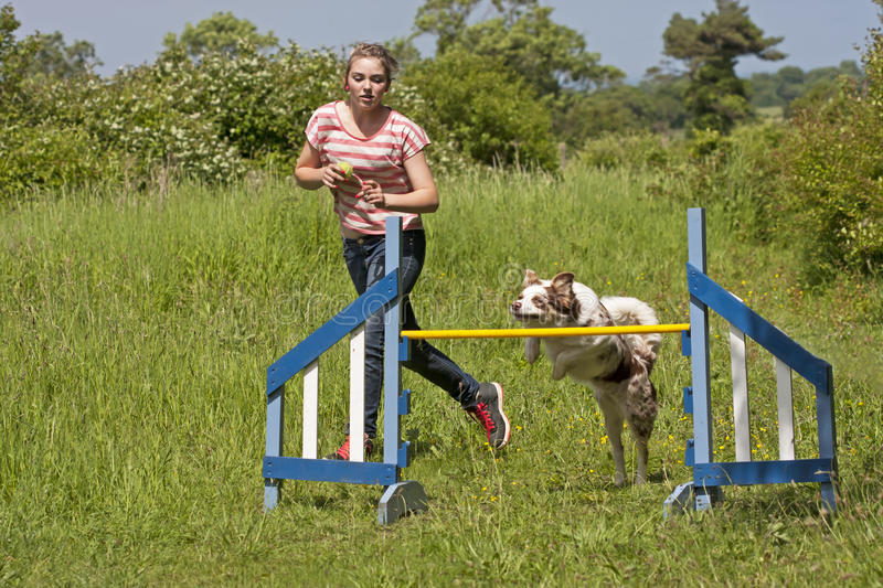 Download Girl Training Her Dog To Jump Stock Image - Image: 25507887