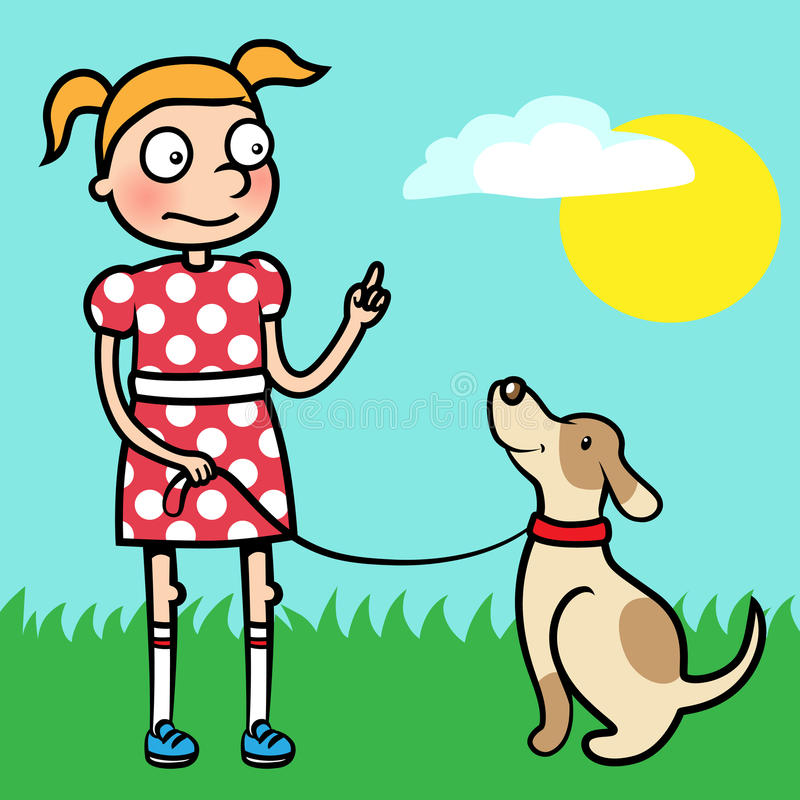 Girl training obedience with well behaved dog. Cartoon vector illustration of a young girl training obedience with her dog stock illustration