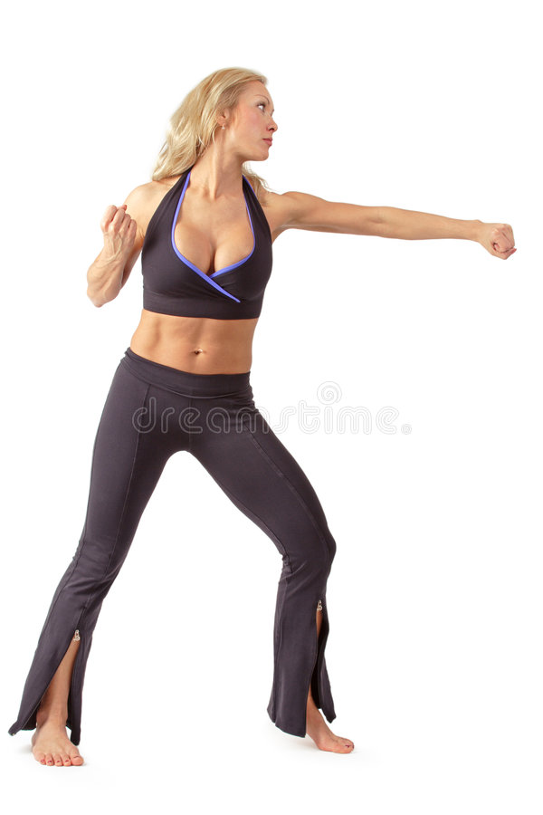 Download Girl training tae bo stock photo. Image of fighter, health - 2999464