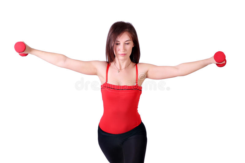 Download Girl trains with dumbbells stock image. Image of leisure - 24624737