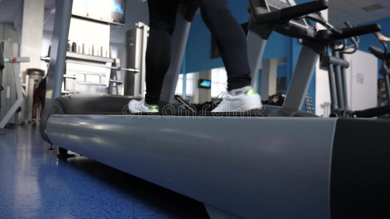 Girl trains on a treadmill. walking in the gym. fitness club woman engaged in walking. sports lifestyle concept. weight royalty free stock photos