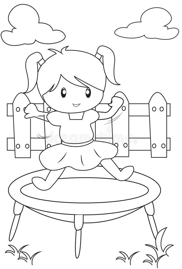 Girl On A Trampoline Coloring Page Stock Illustration - Illustration ...