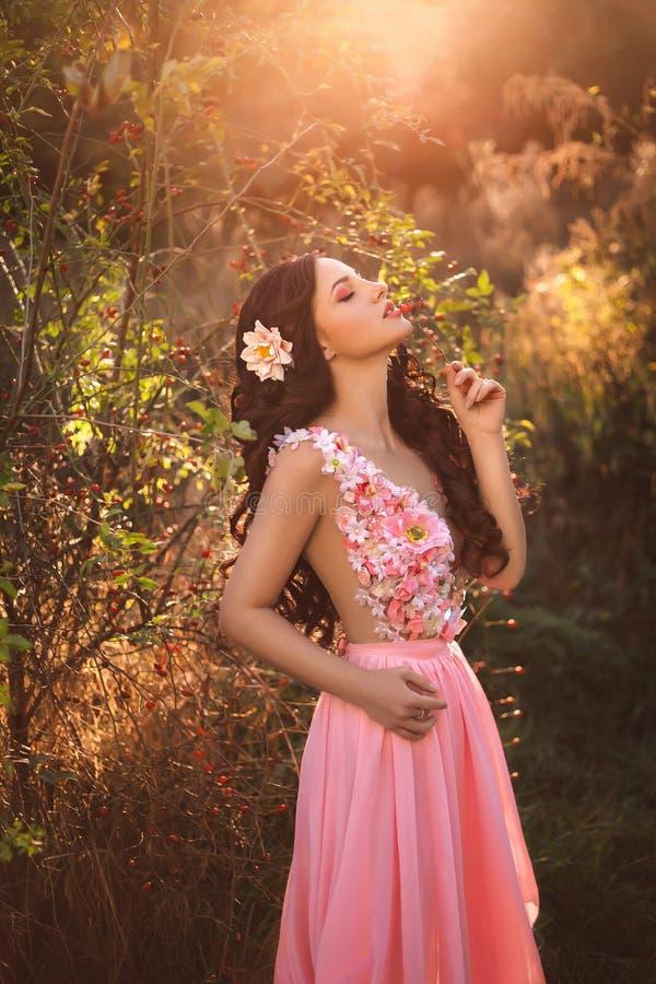 The girl in transparent pink dress stock photos