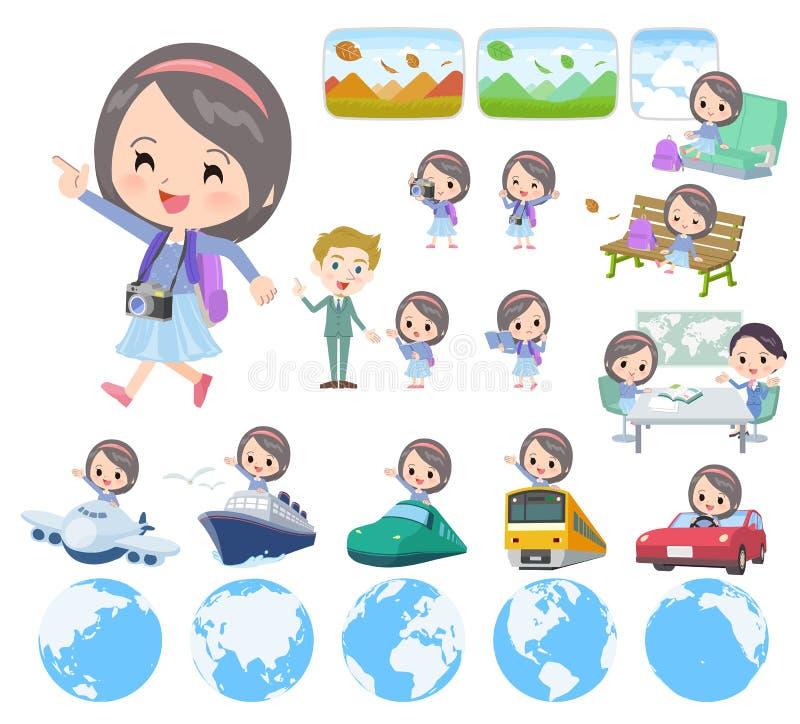 Girl_travel azul da roupa ilustração stock