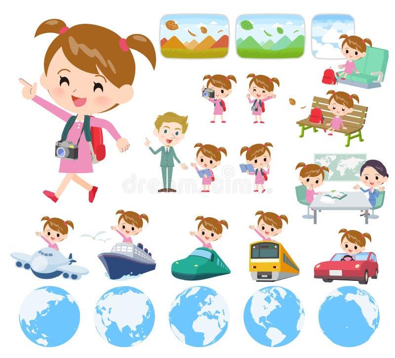Girl_travel cor-de-rosa da roupa ilustração stock