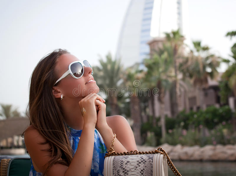 Girl at travel royalty free stock images