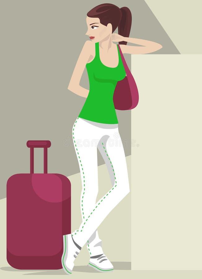 Girl traveling royalty free illustration