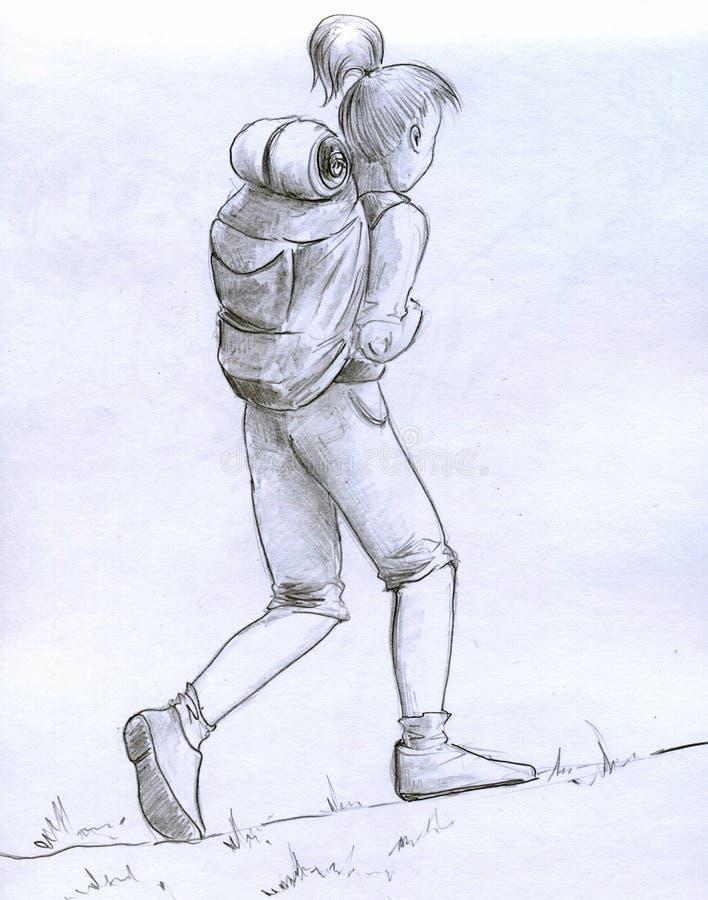 Download Girl traveller stock illustration. Illustration of hike - 19766013