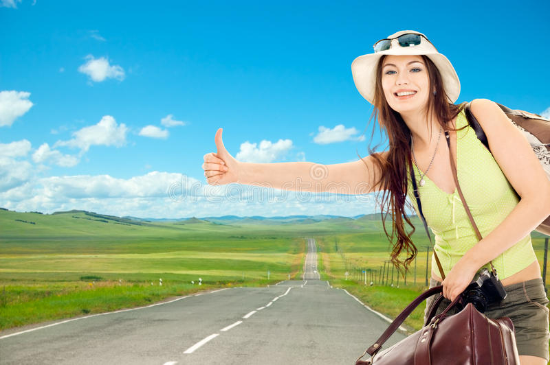 The girl travels stock image