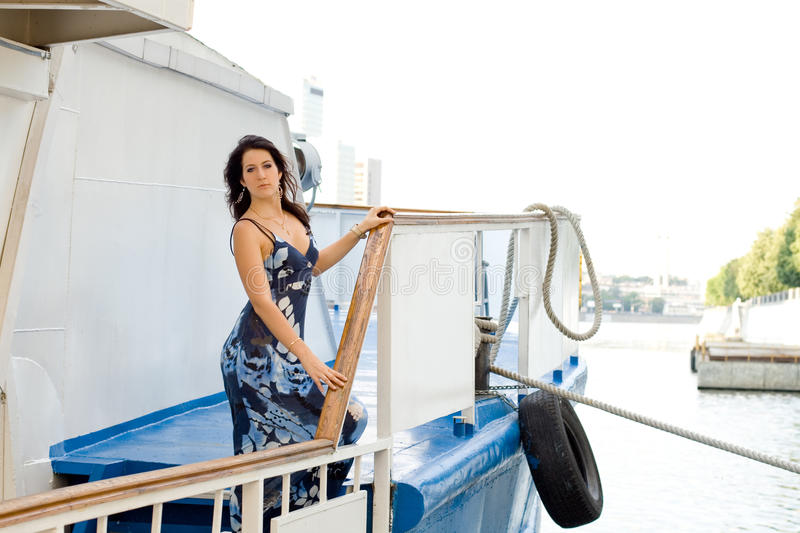 Download Girl travels by boat stock image. Image of blue, person - 20845843