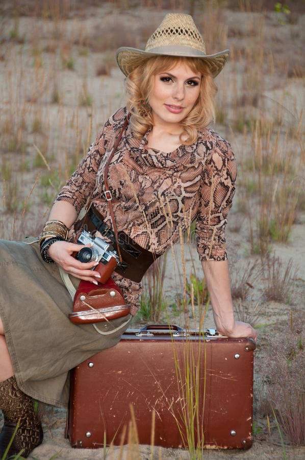 Download A Girl Travels In A Cowboy Hat Stock Photo - Image: 25661678