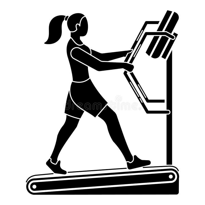 Girl on a treadmill icon, simple style vector illustration