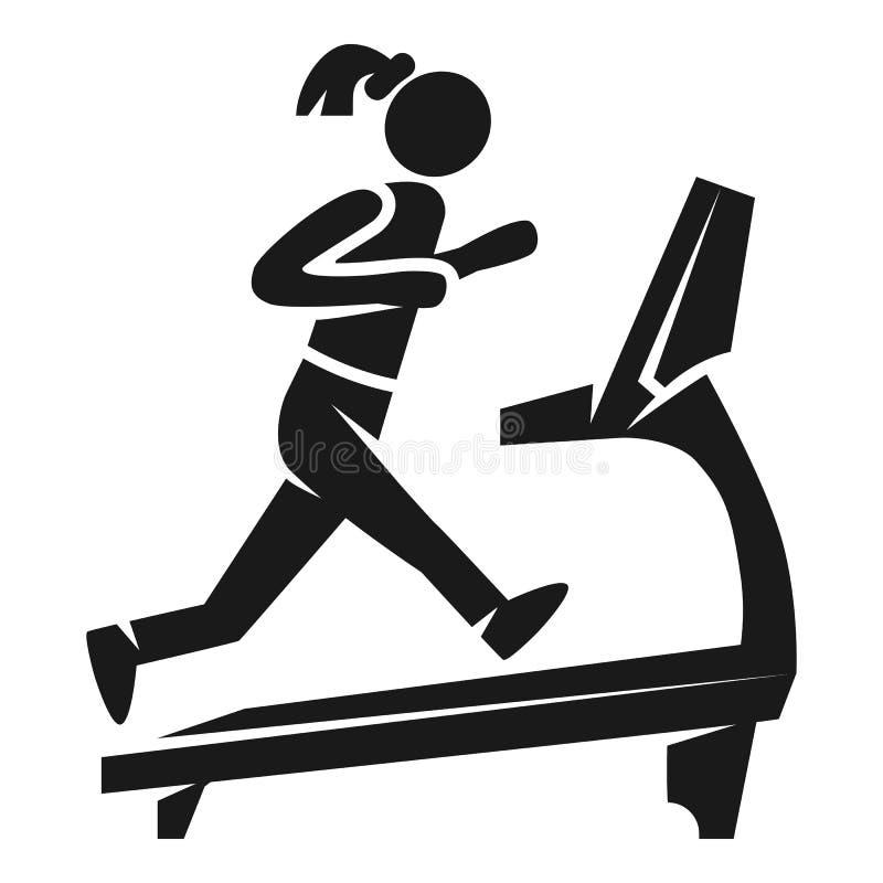 Girl on treadmill icon, simple style vector illustration