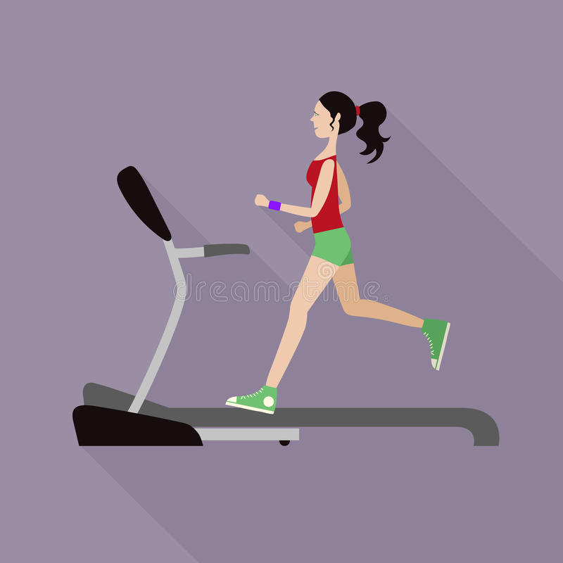 Girl on a treadmill stock image