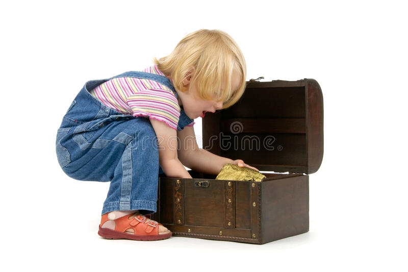 Girl with a treasure chest royalty free stock image