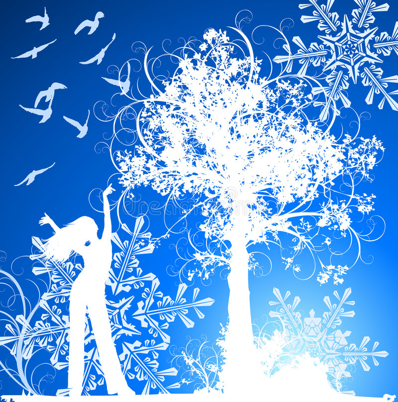 Free Girl, Tree, Birds & Snowflakes Stock Photography - 3590992