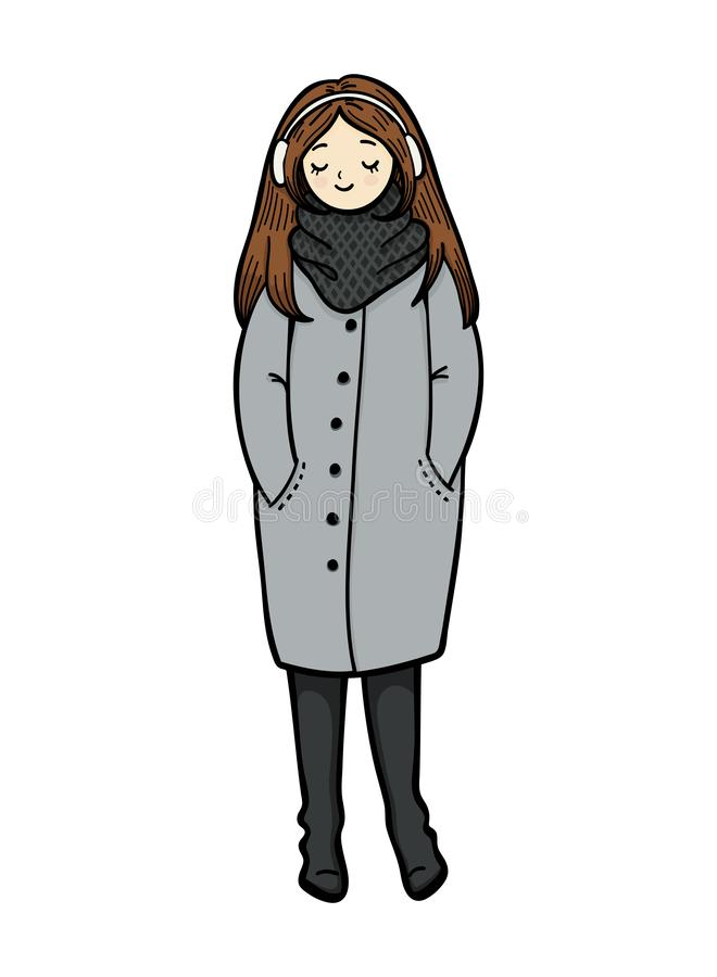 Girl in trendy style on white background. Girl in a coat, scarf and boots is listening to music. Cute cartoon character. Girl in trendy style on white vector illustration