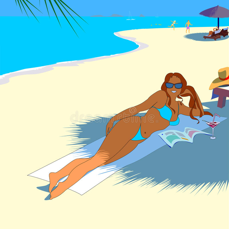 Girl on tropical beach royalty free illustration