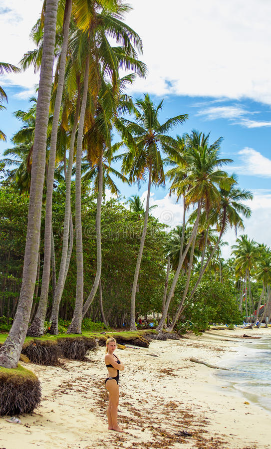 Girl on the tropical beach stock images