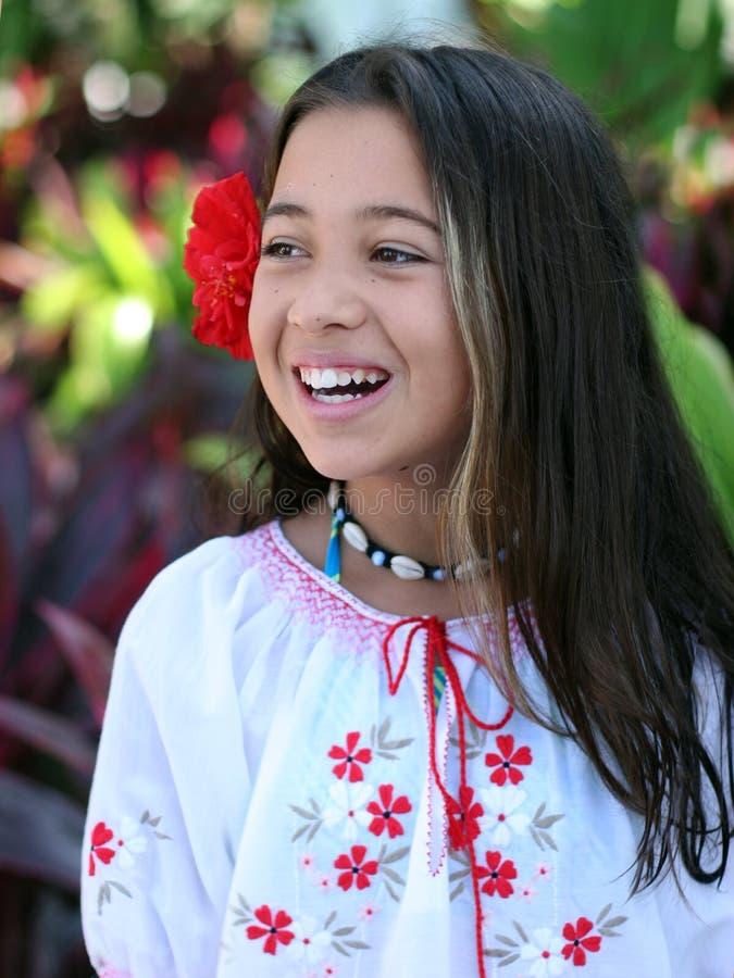 Girl in a tropical garden stock photos