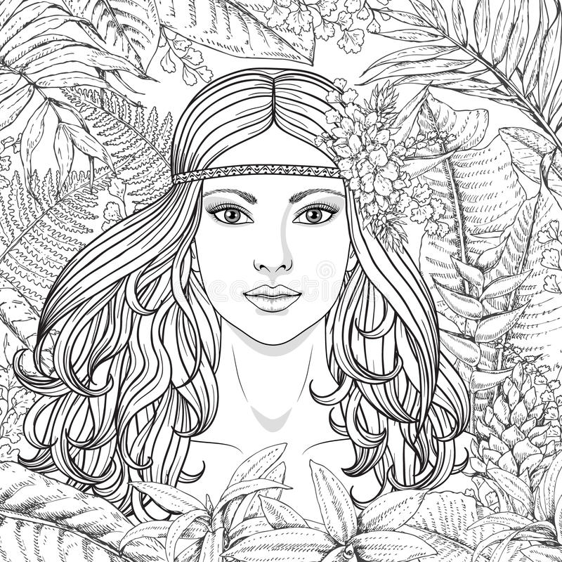 Girl and tropical plants royalty free illustration