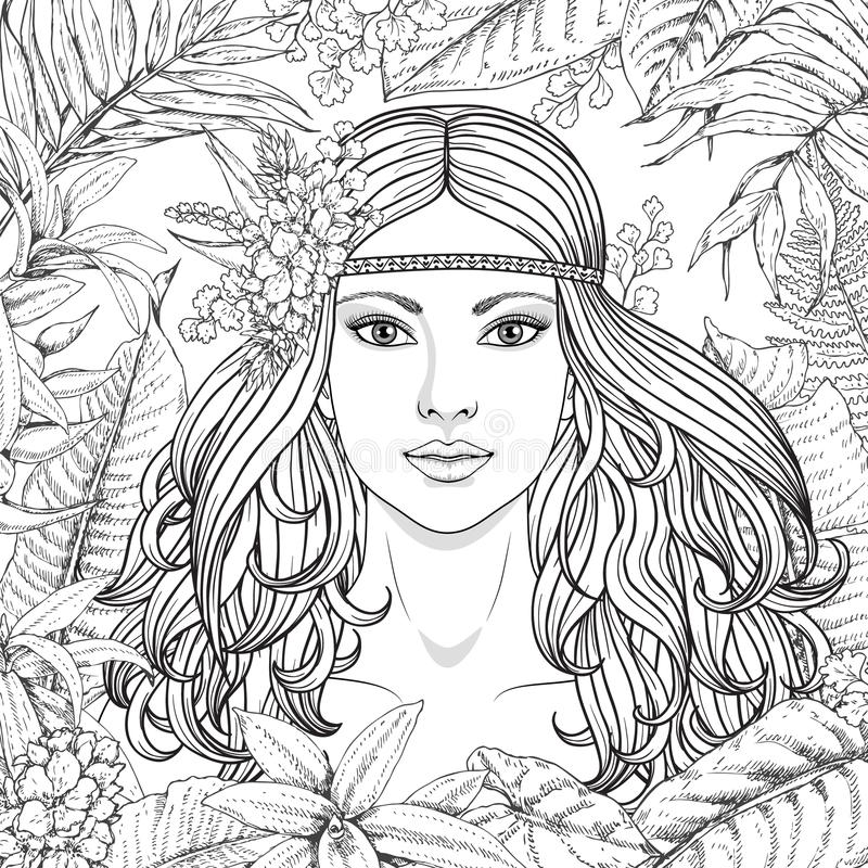 Girl and tropical plants vector illustration