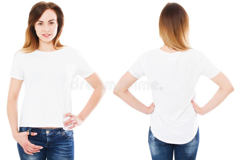 Girl in tshirt set on white background isolated, summer t-shirt, empty royalty free stock photo