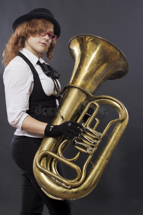 Download The girl with a tuba stock image. Image of instrumant - 21641529