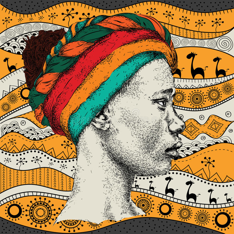 Girl in turban with African hand draw ethno pattern, tribal background. Beautiful black woman. Profile view. Vector illustration. Girl in turban with African stock illustration