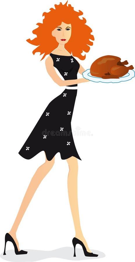 Girl with turkey vector illustration