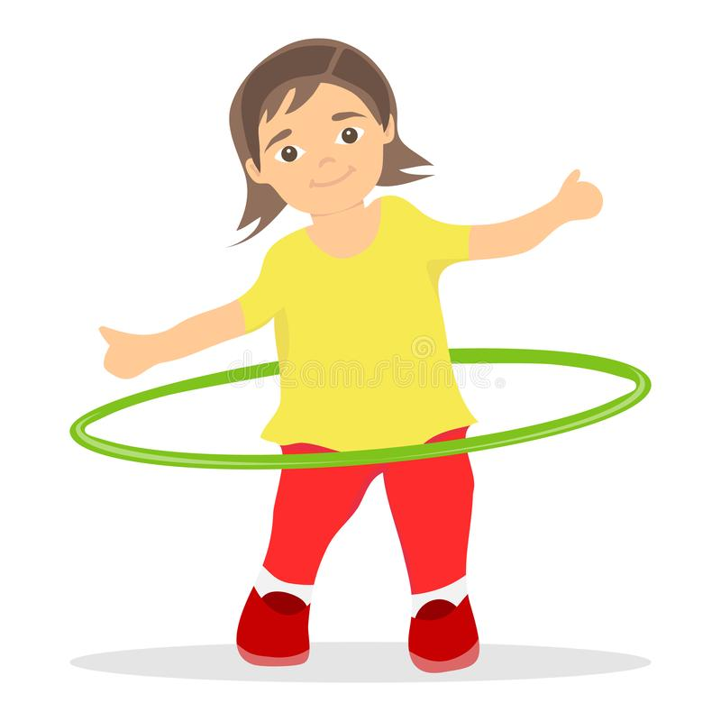 The girl turns the hula hoop. The little girl is charging and turns the hula hoop. Flat design, vector vector illustration