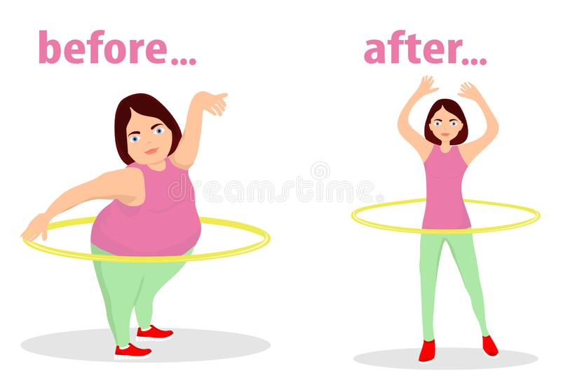 The girl turns the hula hoop for weight loss. The figure of the girl before training and after. The girl is engaged in fitness. Flat design, illustration vector illustration
