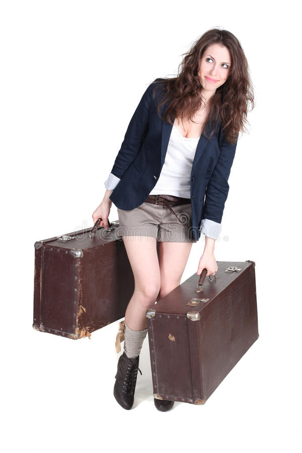 Download Girl with two heavy cases stock image. Image of people - 23661995