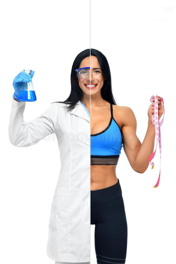 Girl in two occupations of scientist and fitness coach. royalty free stock images