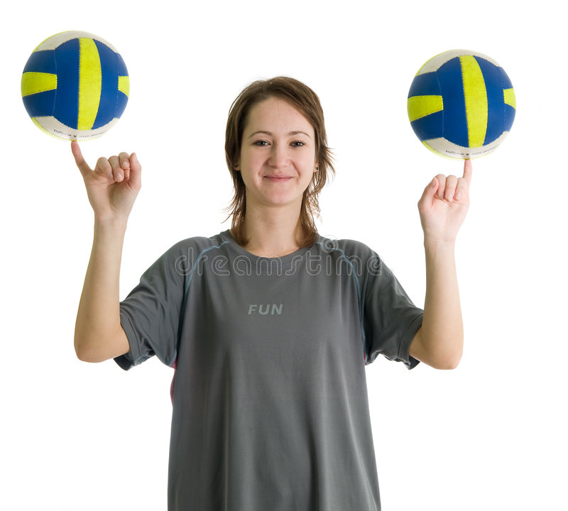 Girl with two volleyball balls stock photos